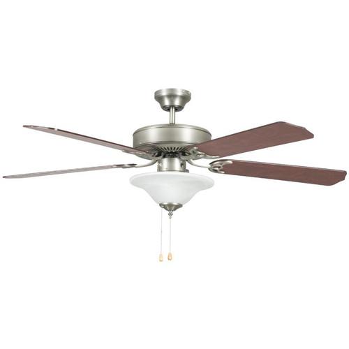 "Heritage Square Satin Nickel Ceiling Fan - 52"" Diameter"
