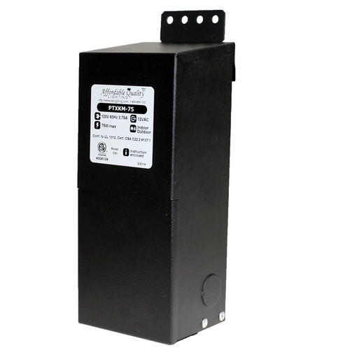 12V 75w Indoor/Outdoor Rated AC Transformer w/ Boost Tap - PTXKEM-75