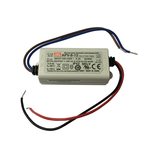 12V 8w Single Output DC Driver - APV-8 - Meanwell