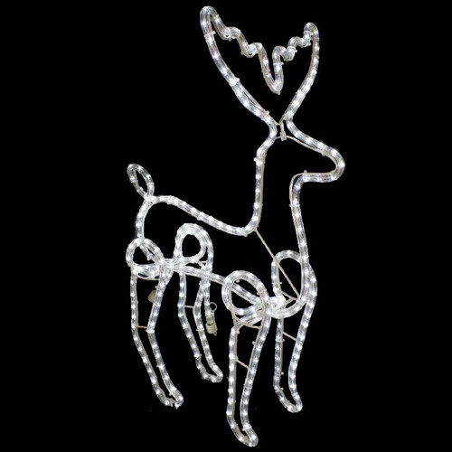 Christmas Reindeer Motif - 120V 3 Wire Cool White LED Rope Light Reindeer 3D Motif