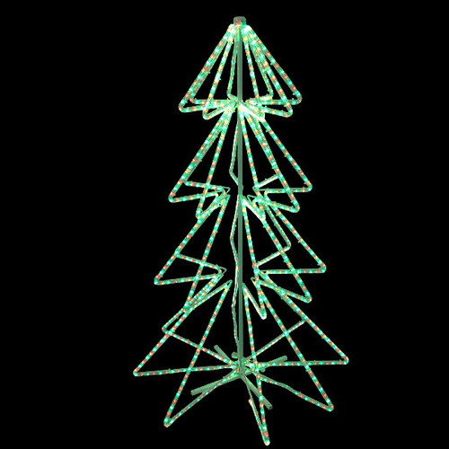 LED Rope Light Christmas Tree 3D Motif - 120V 3 Wire Red & Green Bi-Color/ Cool White 3D Motif