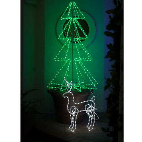 led rope light christmas tree 3d motif 120v 3 wire red green bi