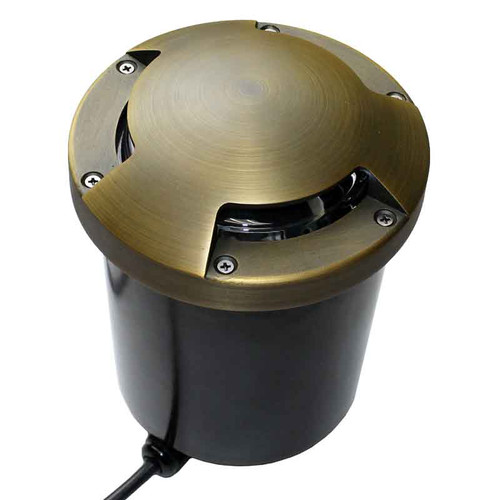 120v LED Composite In Ground Landscape Well Light w/ Brass Tri-Directional Cover - LEGAU999