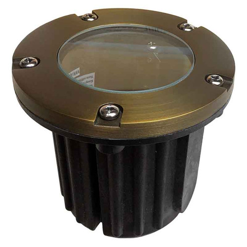 "12V 5"" LED Composite In Ground Well Light w/ Brass Open Face Cover - LEDGC5B"