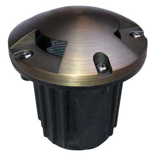 "12V 5"" LED Composite In Ground Well Light w/ Brass Tri-Directional Cover - LEDGC5B"