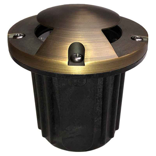 "12V 5"" LED Composite In Ground Well Light w/ Brass Bi-Directional Cover - LEDGC5B"
