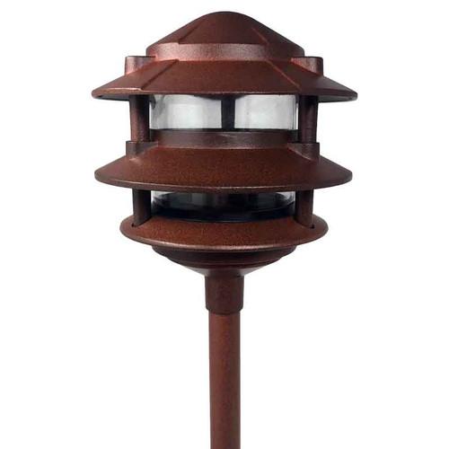 12V / 120V LED Cast Aluminum 3-Tier Pagoda Area Light w/ Modular Stem System - LED-AQPA3S
