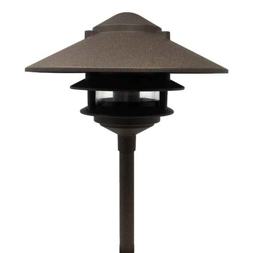 12V / 120V LED Cast Aluminum 3-Tier Large Top Pagoda Area Light w/ Modular Stem System - LED-AQPA3SLT