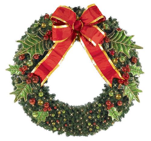 Pre-Lit Signature Holly Theme Designer LED Christmas Wreath
