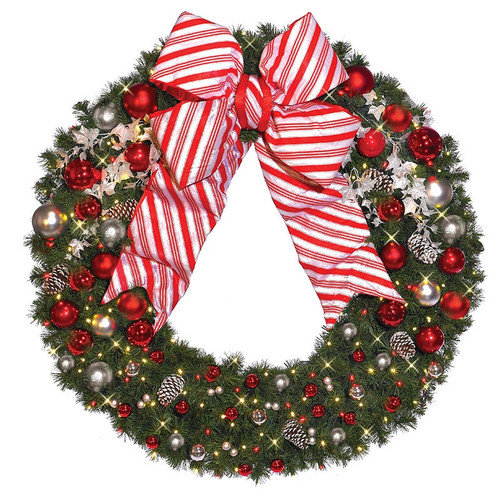 Pre-Lit Signature Candy Cane Collection LED Christmas Wreath