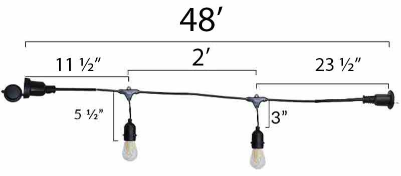24 LIght Decorative Vintage LED Light String Dimensions Diagram