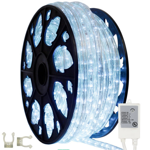 145ft cool white animated led rope light kit aqlighting shown with included controller and mounting clips aloadofball Image collections