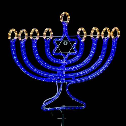 Led rope light menorah motif kit aqlighting 120v blue led rope light menorah motif kit aloadofball Choice Image