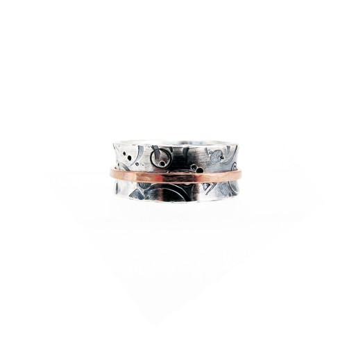 Textured Sterling and Copper Spinner Ring
