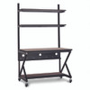 """48"""" Performance 100 Series LAN Station with 14"""" D Lower Shelf - Cherry"""