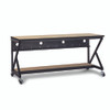 """72"""" 400 Series LAN Station / Workbench with 14"""" D Lower Shelf – Maple"""