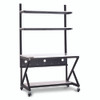 "48"" Performance 100 Series LAN Station with 14 D Lower Shelf - Folkstone"