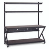 "72"" Performance 200 Series LAN Station with 28"" D Lower Shelf - Mahogany"