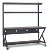 "72"" Performance 100 Series LAN Station with 14"" D Lower Shelf - Mahogany"