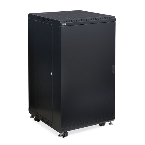 "22U Server Cabinet With Solid Front & Rear Vented Doors - 24"" Depth"