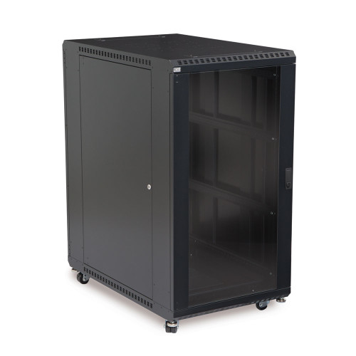 "22U LINIER Server Cabinet With Glass Front and Rear Doors - 36"" Depth"