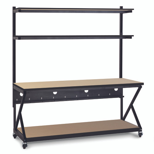 """72"""" Performance 200 Series LAN Station with 28"""" D Lower Shelf - Maple"""