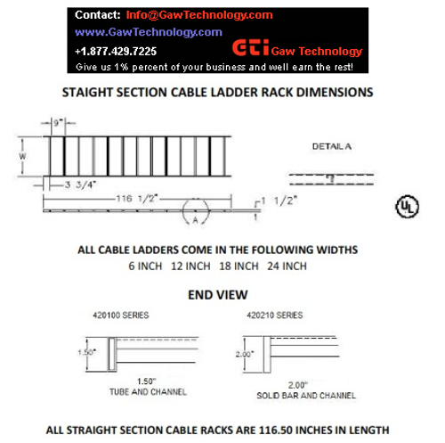 "Cable Ladder Rack, 2"" Solid Rail"