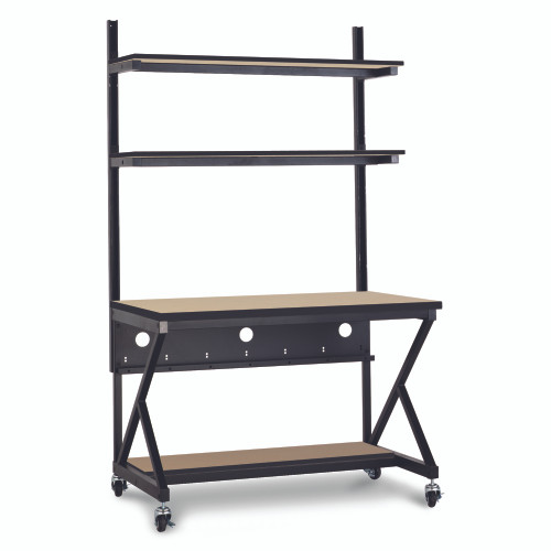 """48"""" Performance 100 Series LAN Station with 14"""" D Lower Shelf - Maple"""