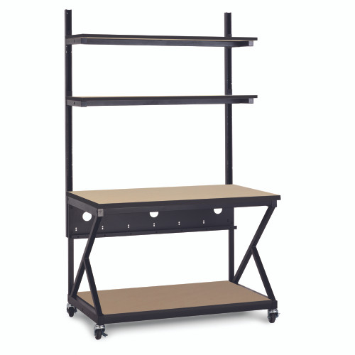"""48"""" Performance 200 Series LAN Station with 28"""" D Lower Shelf - Maple"""