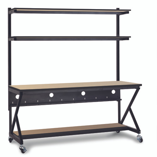 "72"" Performance 100 Series LAN Station with 14"" D Lower Shelf - Maple"
