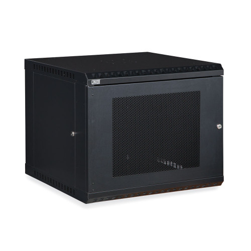 9U LINIER Fixed Wall Mount Cabinet With Mesh - Perforated - Vented Door