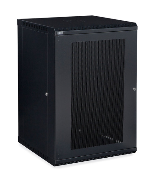18U LINIER Fixed Wall Mount Cabinet With Mesh - Perforated - Vented Door