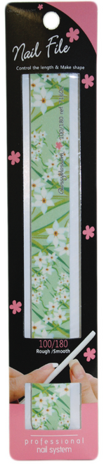 Glossy Blossom Nail File 100/180 Grit Green Garden