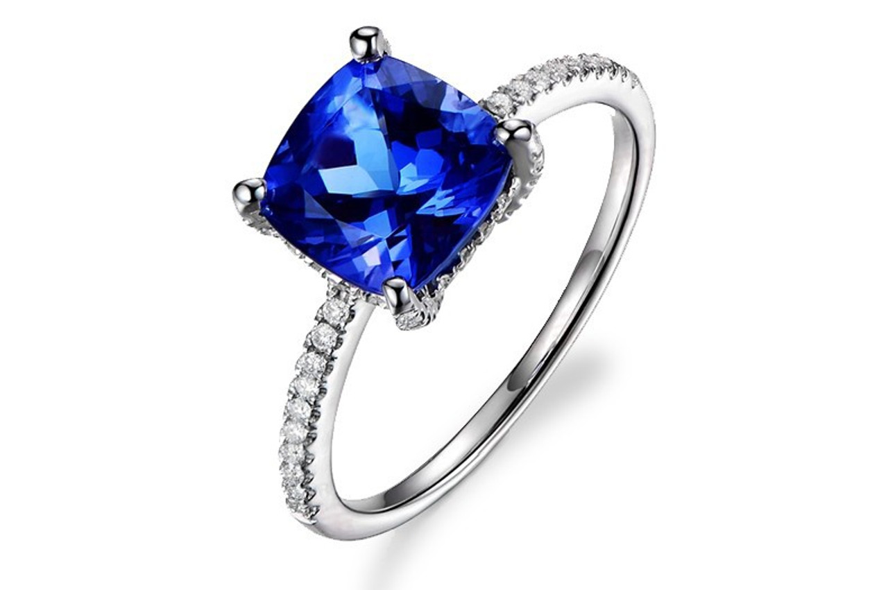 Classic Pave Tanzanite Ring With Natural Diamonds Petra Gems