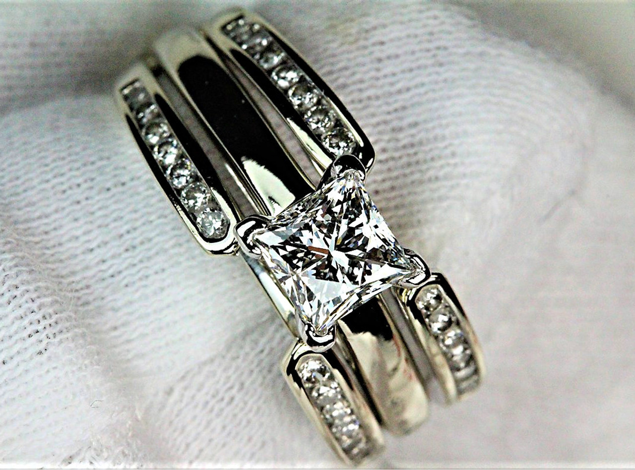ring wedding engagement set cut channel rings product diamond princess and band bridal