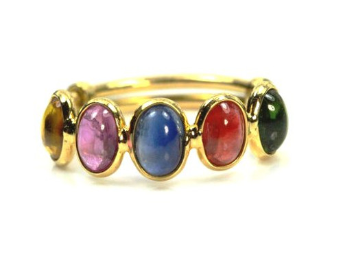 Mixed Color Gemstone Ring, Stackable Ring, Solid Gold Ring,