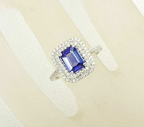 diamond emerald cut pendant and tanzanite