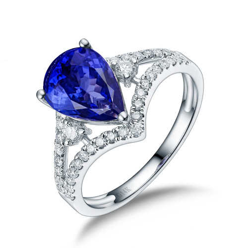 tanzanite white rings gemvara round engagement wedding with b diamond gold claire ring