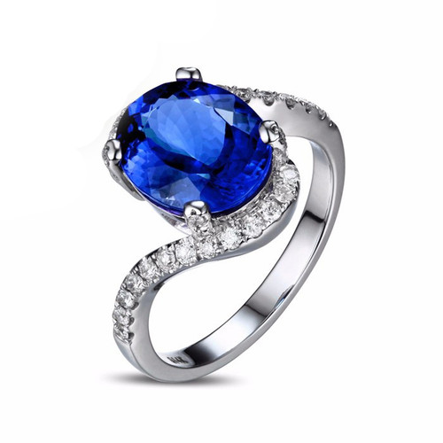 wedding stone and ring aaa tanzanite three diamond classic engagement rings wg bands
