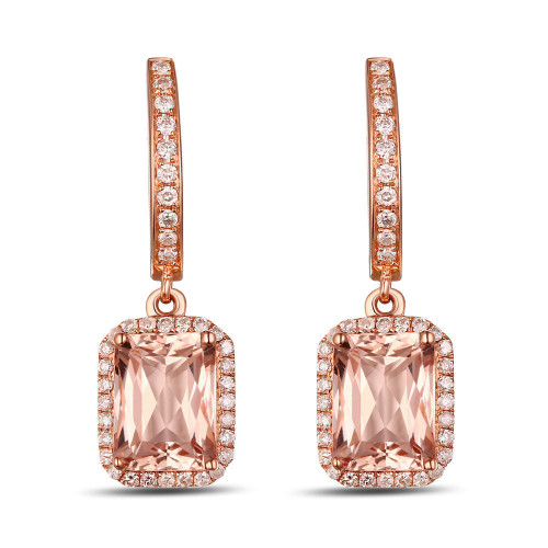 14k Rose Gold Diamond Drop Dangle Earrings