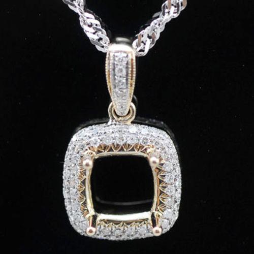 Unique pendant settings cushion 14k gold semi mount pendant aloadofball Image collections