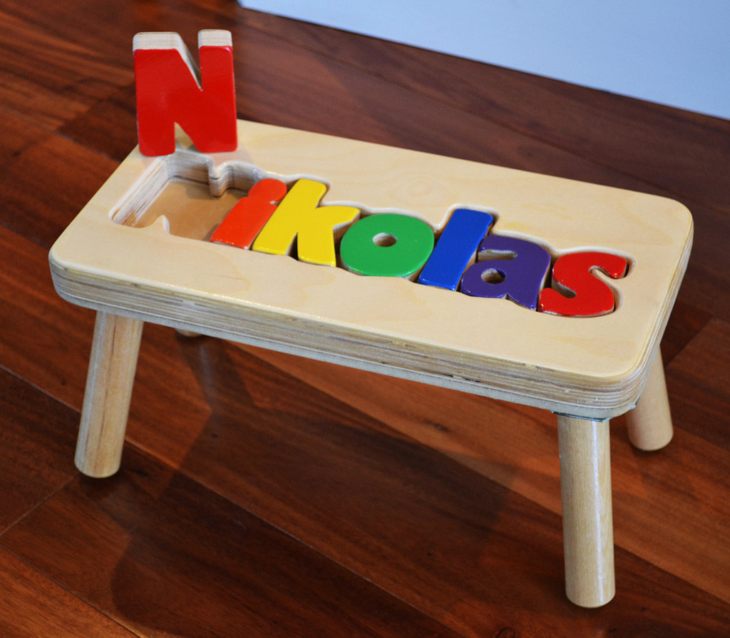 Natural Puzzle Step Stool For Kids