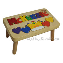 natural princess puzzle stool with primary letters