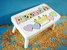 white princess puzzle stool with pastel letters