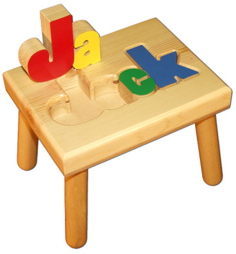 Machine Cut Personalized Puzzle Name Stool