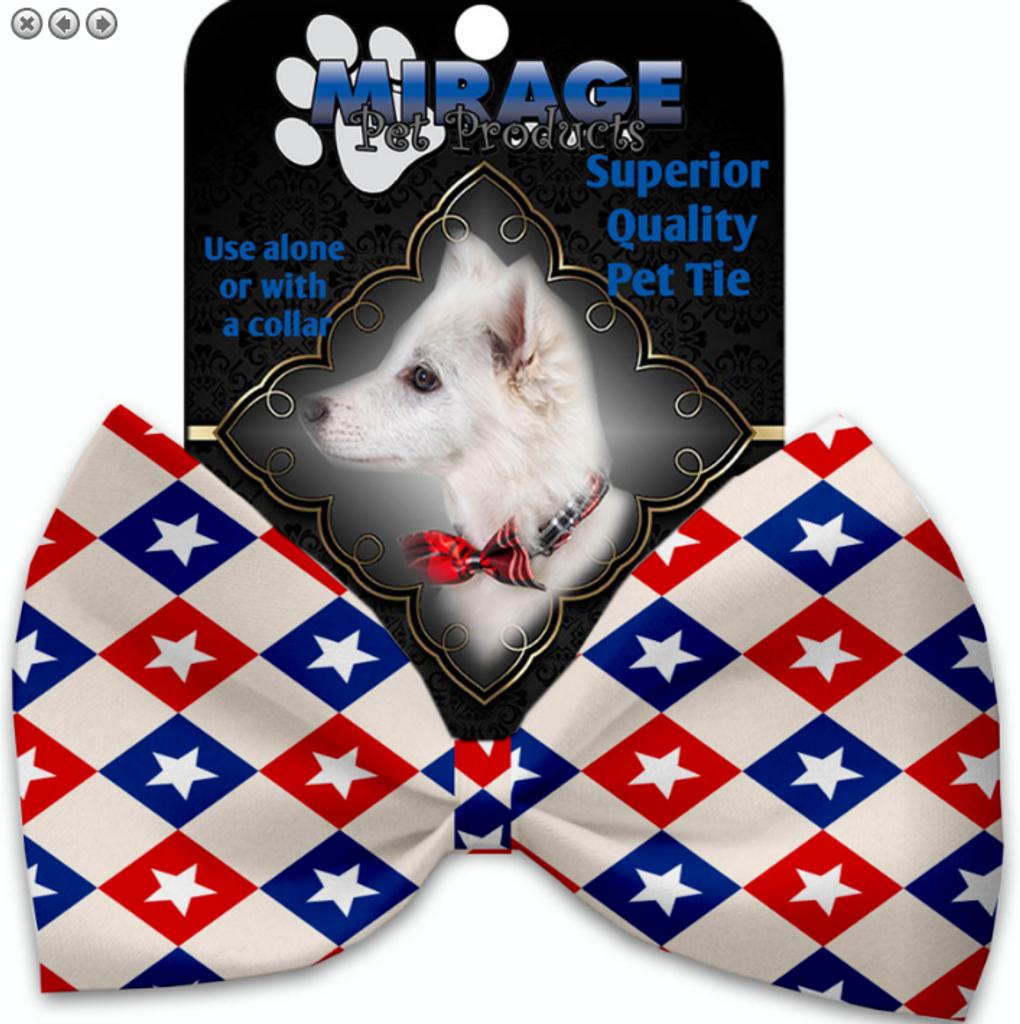 Patriotic Checkered Stars Pet Bow Tie