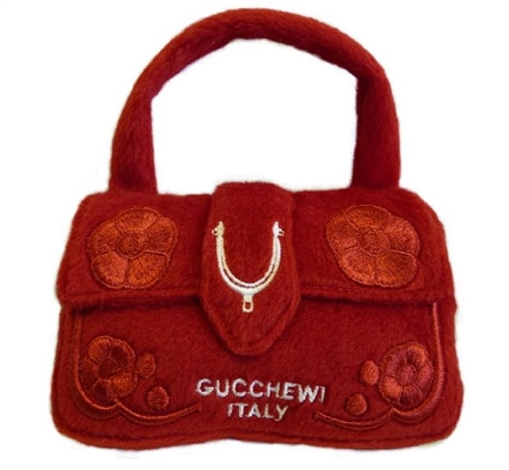 Dog Diggin Designs Gucchewi Red Floral Purse
