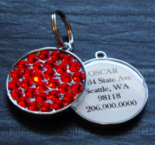 Light Siam Swarovski Rhinestone Pet ID Tag