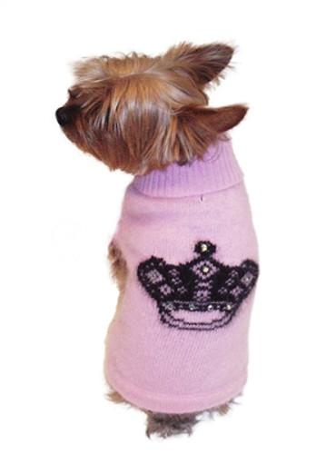 Mimi Crown Angora Blend Turtleneck, Pink with Black Crown Intarsia