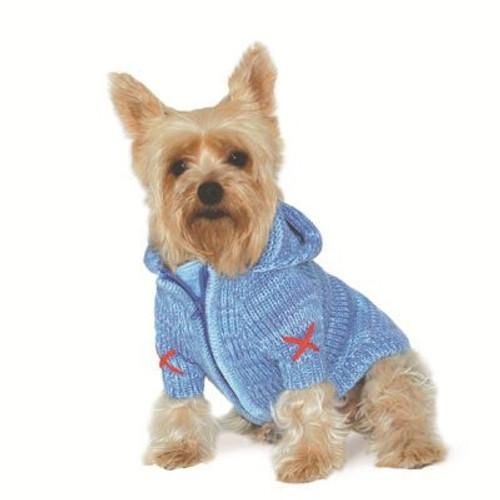 Blue Hoodie Sweater Coat